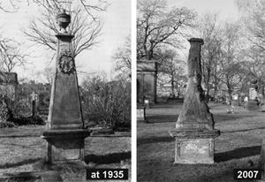 Historical and present-day photo showing the conditin of the Sielentz obelisk exhibits strong weathering and a loss of ornamental designd.