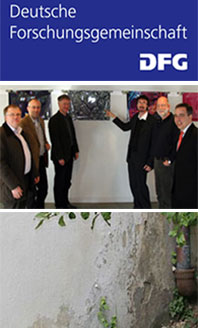 DFG Logo / specialist group (from left): Dr. S. Brüggerhoff, Prof. Dr. E. Stadlbauer, Prof. Dr. S. Laue, Dr. H.-J. Schwarz, Dr. H. Juling, L. Töpfer; (c) DBU / Salt damages on the plinth of a building; (c) HAWK Faculty Preservation of Cultural Heritage